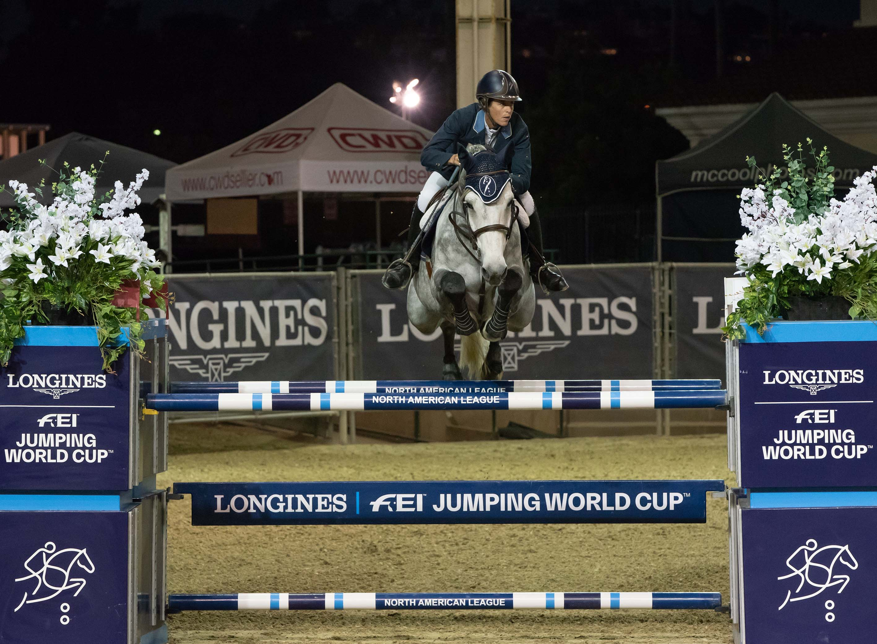 Jenni McAllister and Colvados in the FEI World Cup Qualifier in Del Mar. Photo Credit: Treena Hall Equine Photography