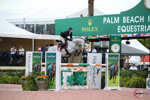 Carrasca Z and Taylor Flury competing at Winter Equestrian Festival in Wellington, FL | Photo Credit Sportfot